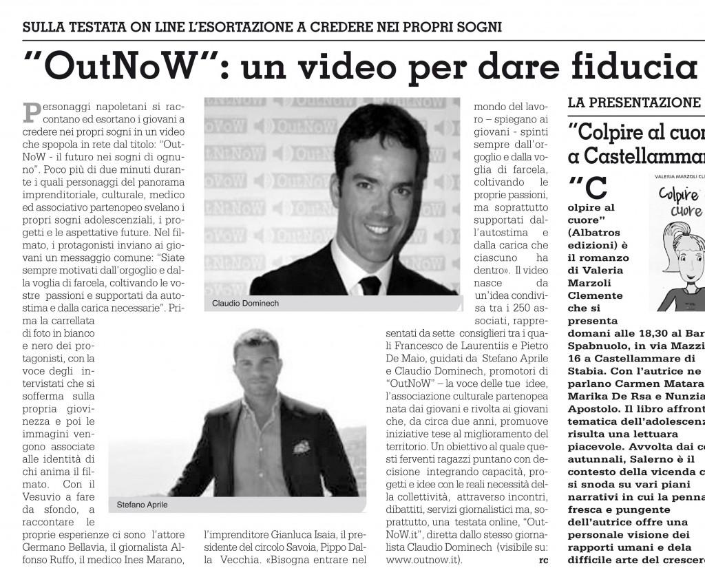 """Articolo pubblicato sul quotidiano """"Roma"""""""